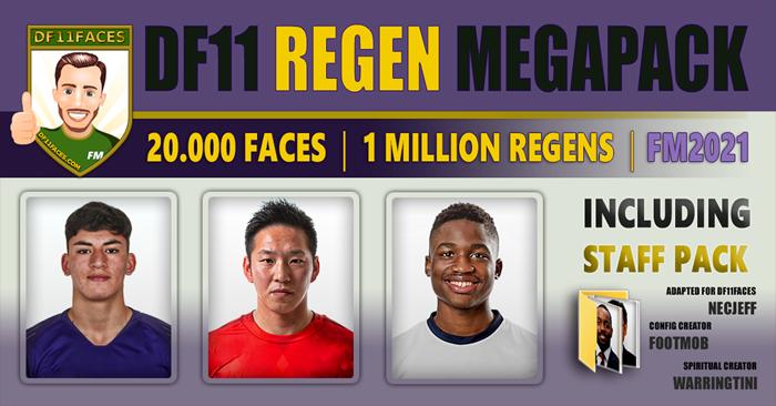 Football Manager 2021 Facepacks - DF11 Regen Megapack FM2021