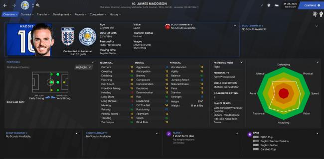 england james maddison fm21 profile