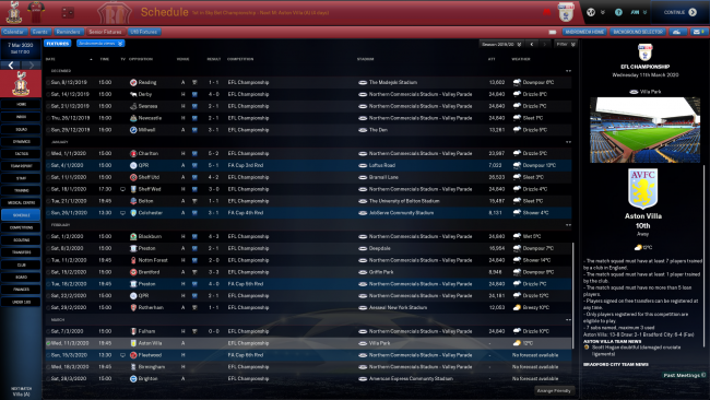 Bradford City Senior Fixtures