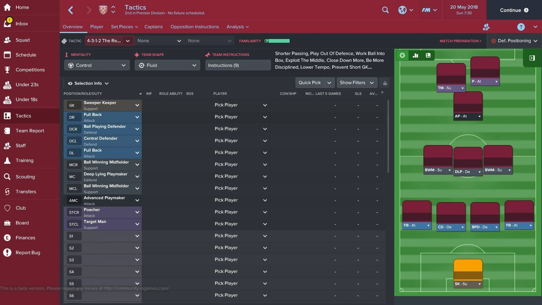 Amateur clubs in football manager 2018