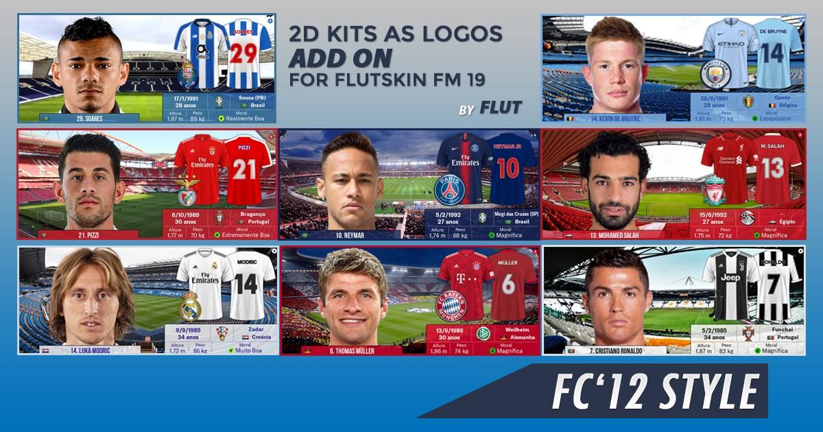 Football Manager 2019 Kits - 2D Kits 18/19 for Flutskin - Titlebar/Player Overview v.2.0